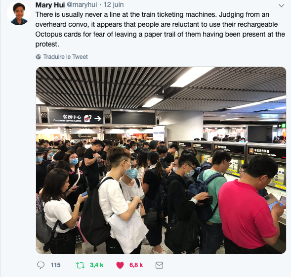 Hong Kong Protestesters waiting at ticketing line, reluctant to use Octopus cards